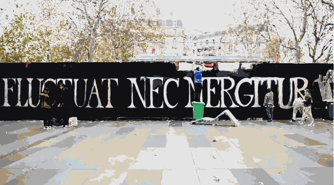 "After #ParisAttacks the motto ""Fluctuat nec mergitur"" becomes a symbol of resitance for Paris"
