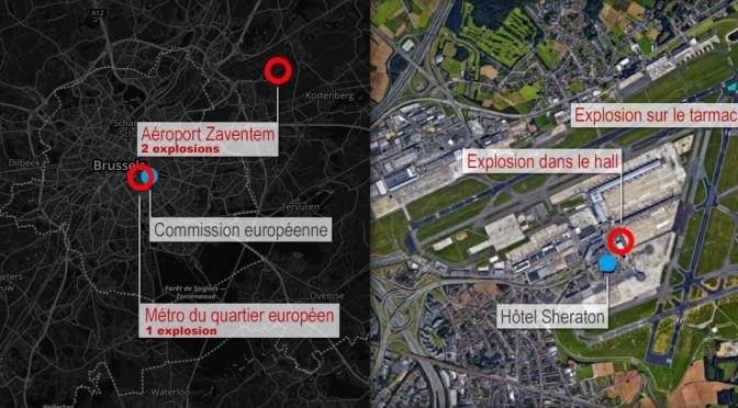 Multiples attentants à Bruxelles: Restez où vous êtes, conseillent les autorités.//Brussels Zaventem airport and metro explosions 'kill at least 13'