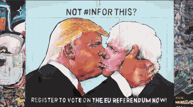 Donald Trump and Boris Johnson in a passionate capitalist fraternal street-art kiss in Bristol, Uk