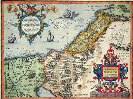 A beautiful italian map of Palestine drawn in 1570// Une carte de Palestine faite en 1570.