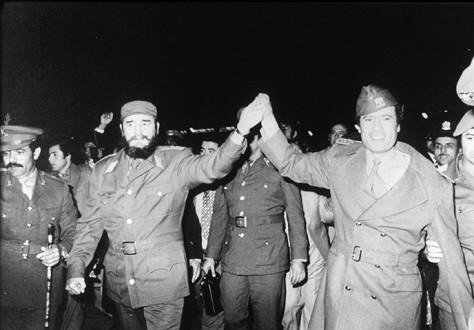 Fidel Castro with Gaddhafi
