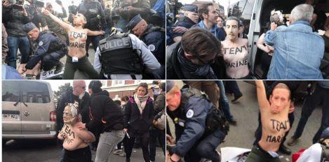 marine le pen protest femen france