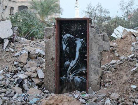 gaza banksy door
